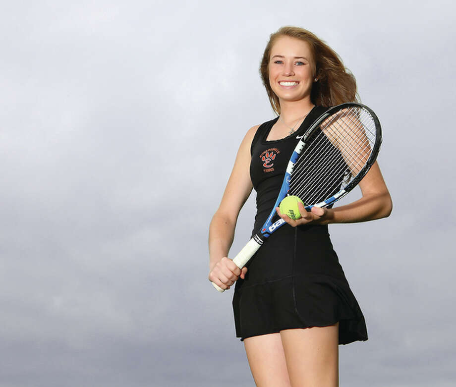 Edwardsville junior Callaghan Adams is the 2014 Telegraph Girls Tennis Player of the Year. It is the third successive Player of the Year award for Adams, who enters her senior season as a three-time sectional champion. Photo: Billy Hurst / For The Telegraph