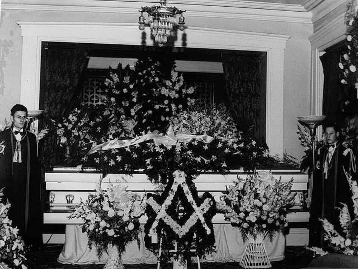 Robert Wadlow's specially-made casket displayed at Streeper Funeral Home.