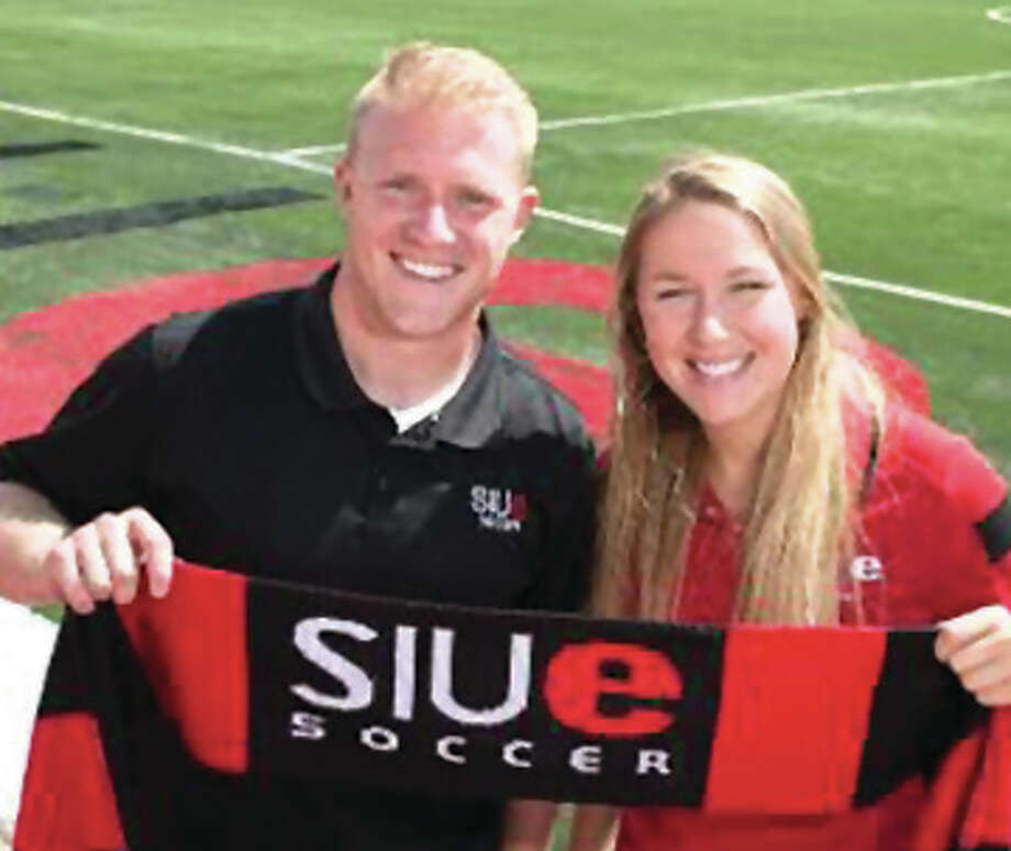 Morgan Betscher (right) and Samuel Thomas have been hired as assistant coaches for the SIUE Cougars women's soccer team. Thomas was a former goalkeeper at Principia College in Elsah. Photo: SIUE Athletics