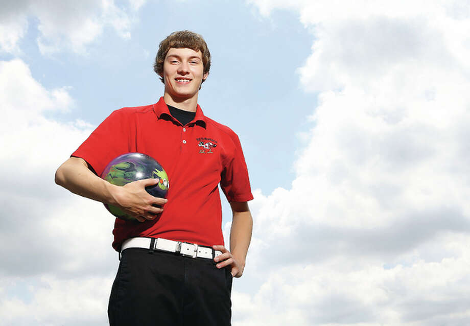 Alton High School's Lucas Pejakovich grabbed a seventh-place finish at the IHSA Boys State Bowing Meet in O'Fallon last season and is the Telegraph Boys Bowler of the Year. Photo: Billy Hurst | For The Telegraph