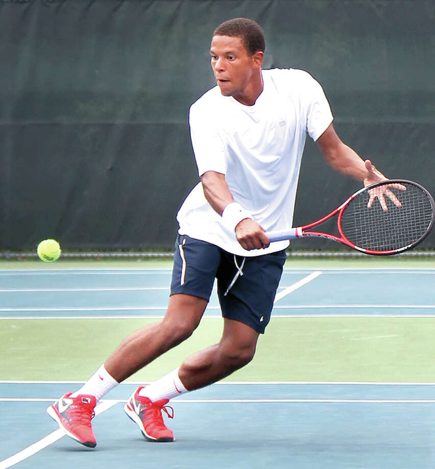 Julian Childers returns during last summer's LCCC Men's USTA Futures tournament. Childers will compete in this year's main draw after winning the Bud Simpson Open for the second consecutive year. Photo: S. Paige Allen, LCCC | For The Telegraph