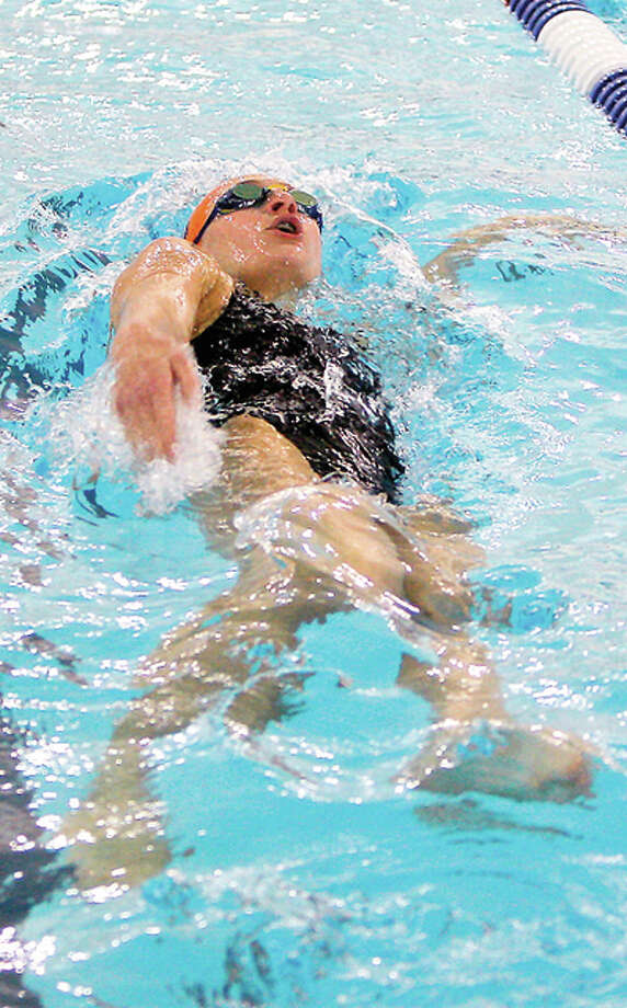Bailey Grinter of the Edwardsville Breakers swam an Olympic Trials qualfying time in the 100-0meter backstroke Friday night at the US Swimming Speedo Regional VIII Summer Sectionals at the Mizzou Aquatic Center. Grinter will be a junior this fall at Edwardsville High School. Photo: Scott Kane | For The Telegraph