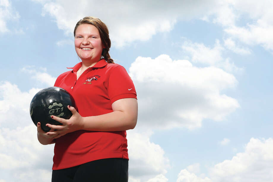 Alton High bowler Eryka Graham rallied to jump 24 spots on the final day of the IHSA Girls State Bowling Tournament in Rockford and is The Telegraph Girls Bowler of the Year for the second consecutive year. Photo: Billy Hurst | For The Telegraph