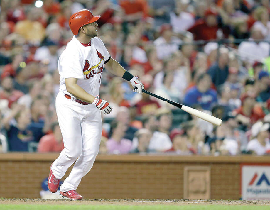 The Cardinals' Jhonny Peralta watches his solo home run in the sixth inning against the Mets Friday at Busch Stadium. Photo: Jeff Roberson | AP