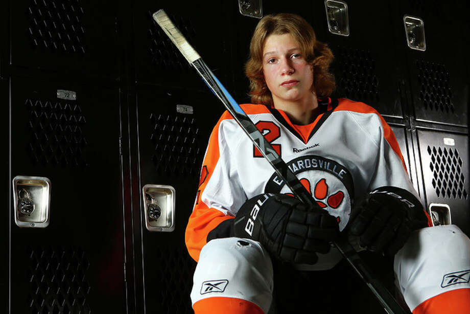 Tyler Hinterser of the Edwardsville Tigers, who scored 47 goals in 22 games last season, is The Telegraph Large School Hockey Player of the Year. Photo: Billy Hurst | For The Telegraph