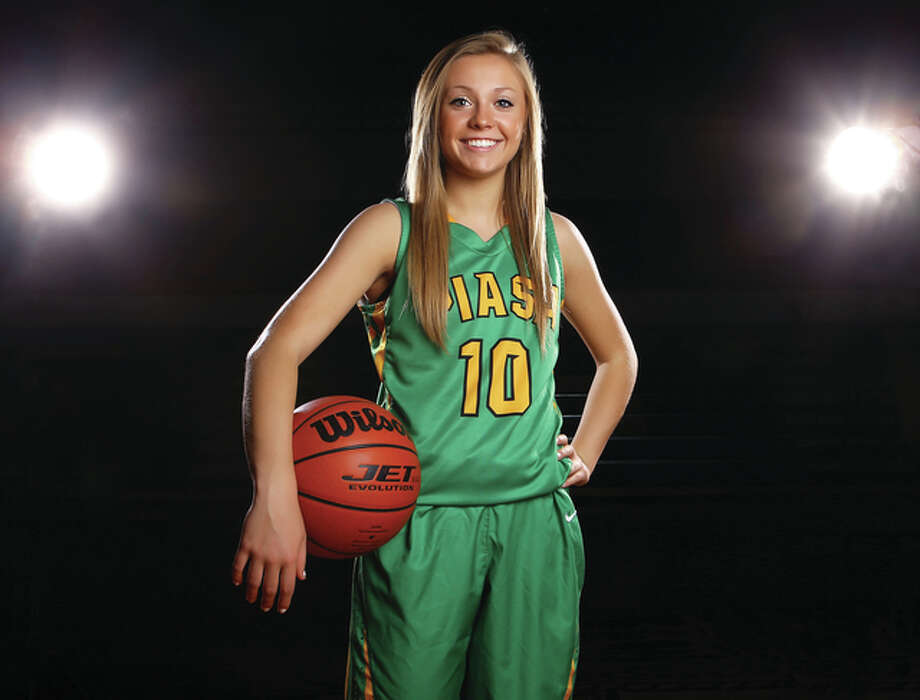 Southwestern's Maddy Greeling is the 2015 Telegraph Small-Schools Girls Basketball Player of the Year after leading the Piasa Birds to a 28-4 record and SCC and regional titles. A Class 2A all-state pick, Greeling enters her senior year as a three-time player of the year. Photo: Billy Hurst / For The Telegraph