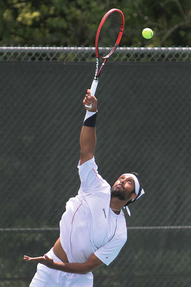 Ankit Chopra, of India, serves Tuesday during the 18th Annual Lewis and Clark Community College Men's Pro Tennis Classic, a USTA Men's Futures tournament at the Andy Simpson Tennis Complex in Godfrey.. Photo: S. Paige Allen / LCCC Media Specialist