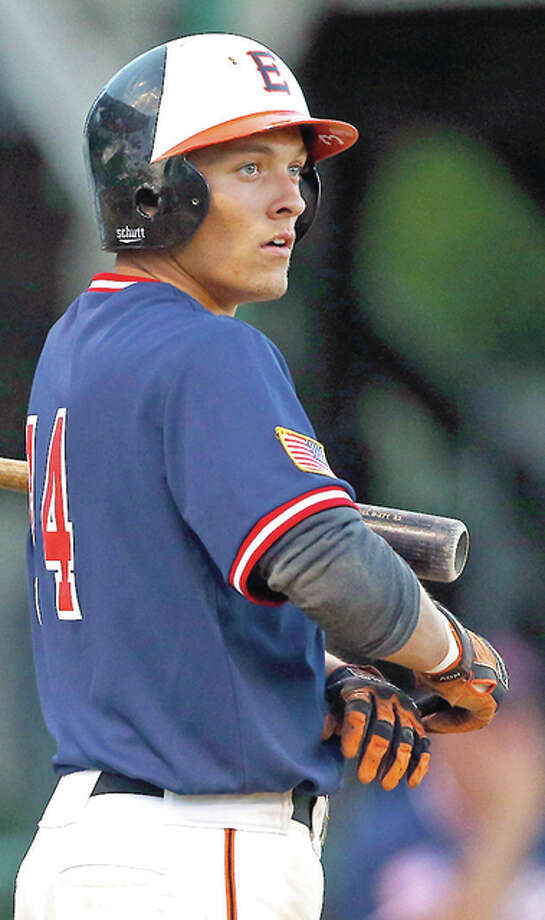 Metro East Bears player Jordan Hovey had a pair of homers and narrowly missed a third in Wednesday night's win over Murphysboro. Photo: Billy Hurst | For The Telegraph