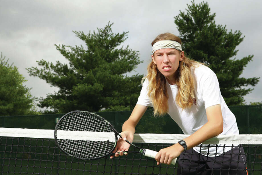 Edwardsville's Erik Weiler won a sectional championship and three matches at state as a sophomore with the Tigers to earn 2015 Telegraph Boys Tennis Player of the Year. Photo: Billy Hurst / For The Telegraph
