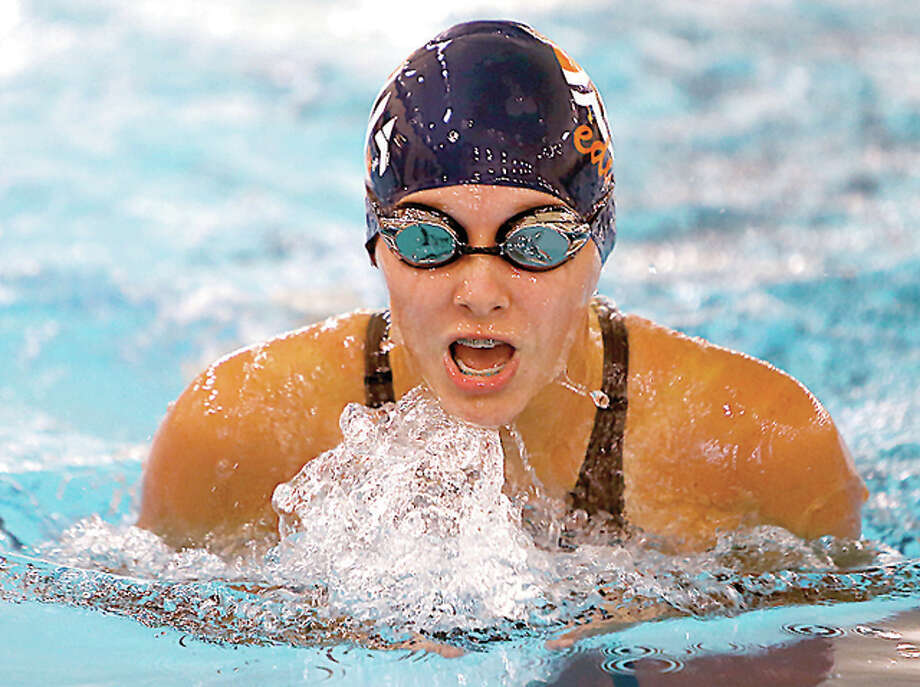 Sierra Brannan of the Edwardsville Breakers swims the breaststroke in action Saturday at the US Swimming Ozark Long Course Championships at the Chuck Fruit Aquatic Center in Edwardsville. Photo: Scott Kane | For The Telegraph