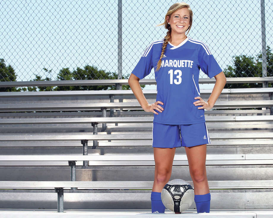Marquette Catholic High senior Kate Sanfilippo, a Northern Illinois University recruit, is the 2015 Telegraph Small-Schools Girls Soccer Player of the Year. Photo: Billy Hurst | For The Telegraph