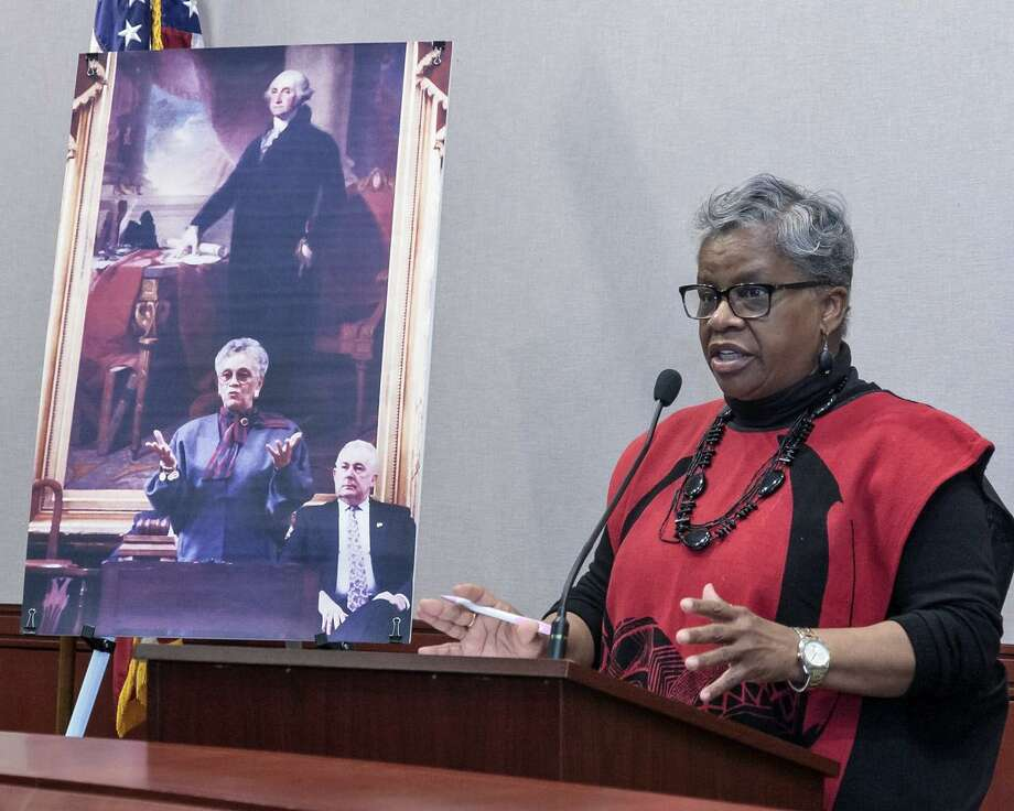 State Senator Marilyn Moore D-Bridgeport helped announce the nomination of Margaret Morton to the Connecticut Women's Hall of Fame at the Capitol in Hartford, Conn. on Thursday, February 22, 2018. Photo: Contributed