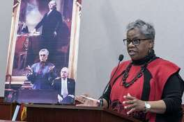 State Senator Marilyn Moore D-Bridgeport helped announce the nomination of Margaret Morton to the Connecticut Women's Hall of Fame at the Capitol in Hartford, Conn. on Thursday, February 22, 2018.