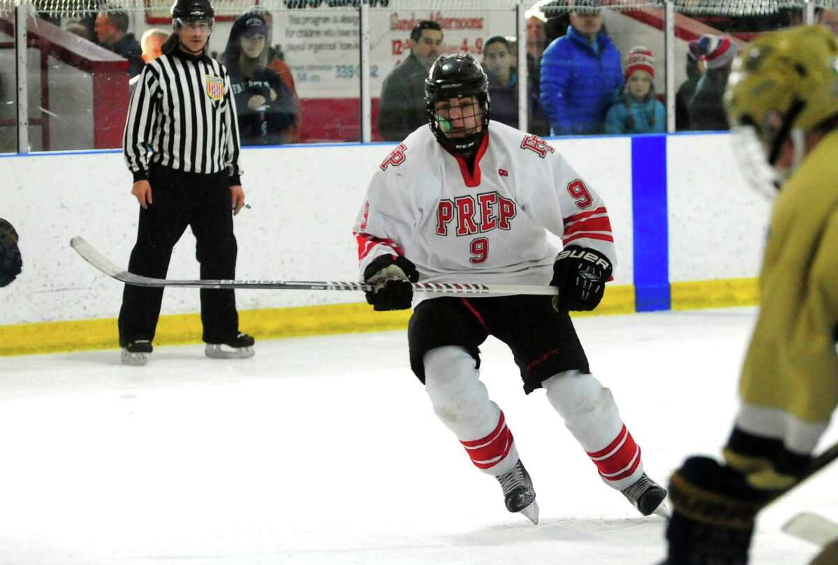 Fairfield Prep's Carter Kral boys hockey action against Notre Dame of Fairfield at the Wonderland of Ice in Bridgeport, Conn., on Saturday Feb. 4, 2017.