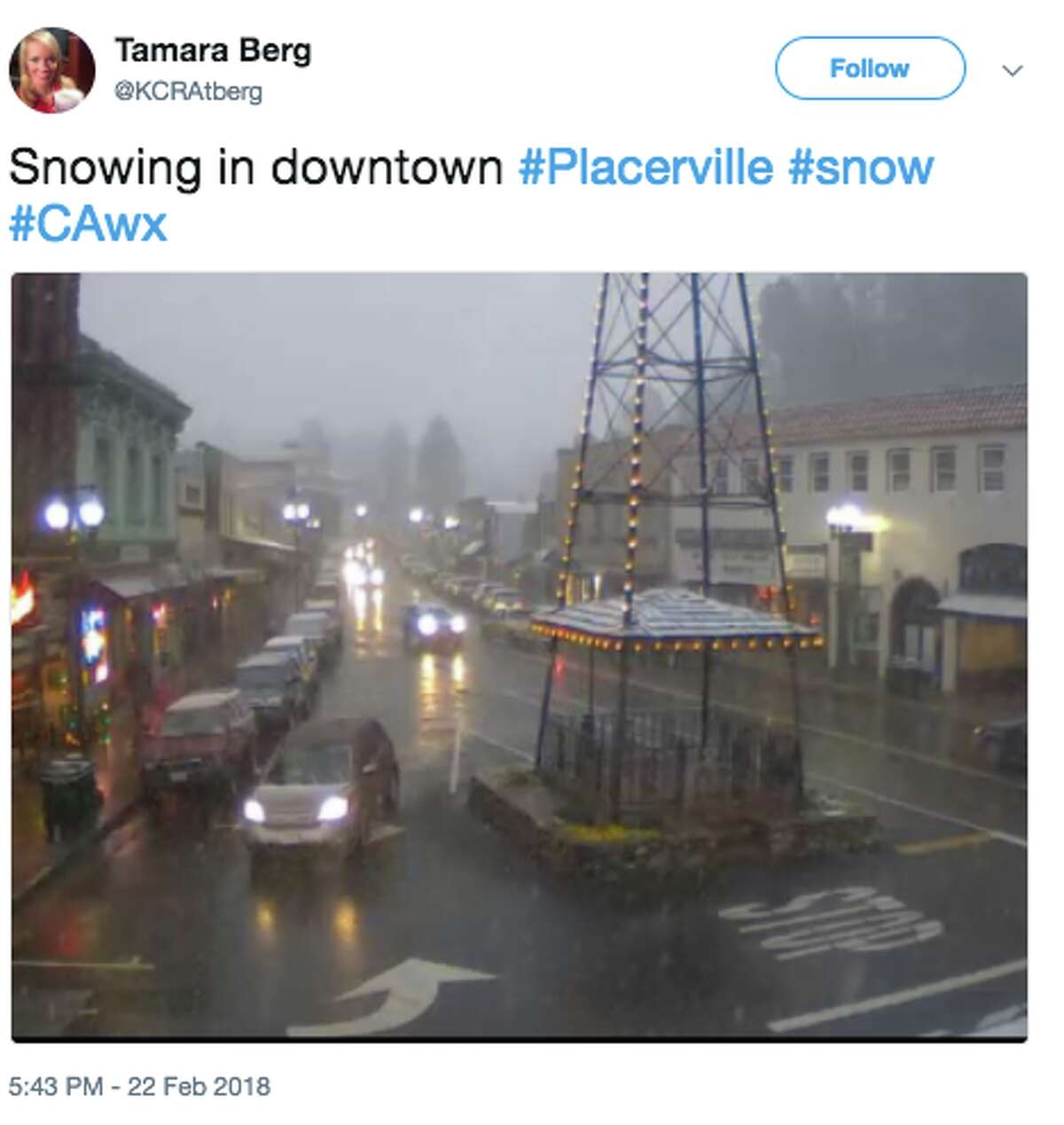 Placerville, elevation 1,867 feet A cold winter storm brought snow and ice to elevations as low as 1,500 feet elevation in the foothills of the northern Sierra Nevada on Feb. 22, 2018.
