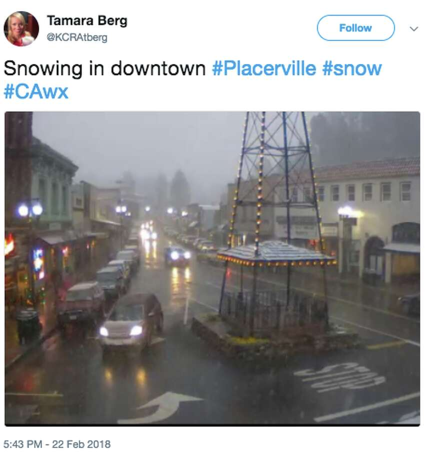 Placerville, elevation 1,867 feetA cold winter storm brought snow and ice to elevations as low as 1,500 feet elevation in the foothills of the northern Sierra Nevada on Feb. 22, 2018. Photo: Twitter Screen Grab
