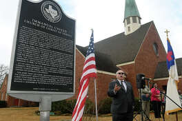 Paul Scott, Harris County Historical Commission Marker Chair, makes his remarks during the Dedication of an Official Texas Historical Marker for Immanuel United Church of Christ in Old Town Spring on January 28, 2018. (Photo by Jerry Baker/Freelance)