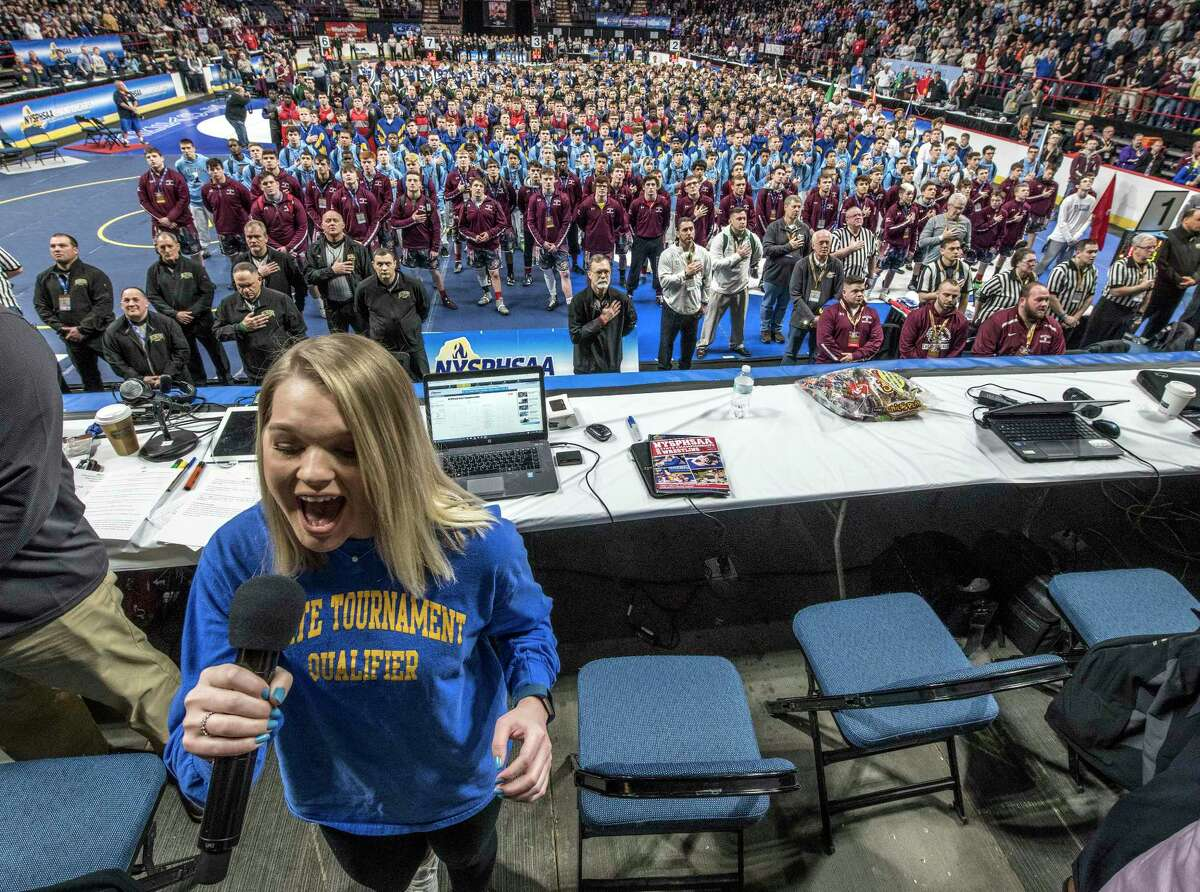 Reagan Domagala of Section 3 sings the National Anthem for the 493 competitors for the New York State High School Wrestling Championships at the Times Union Center Friday Feb. 23, 2018 in Albany, N.Y. (Skip Dickstein/Times Union)