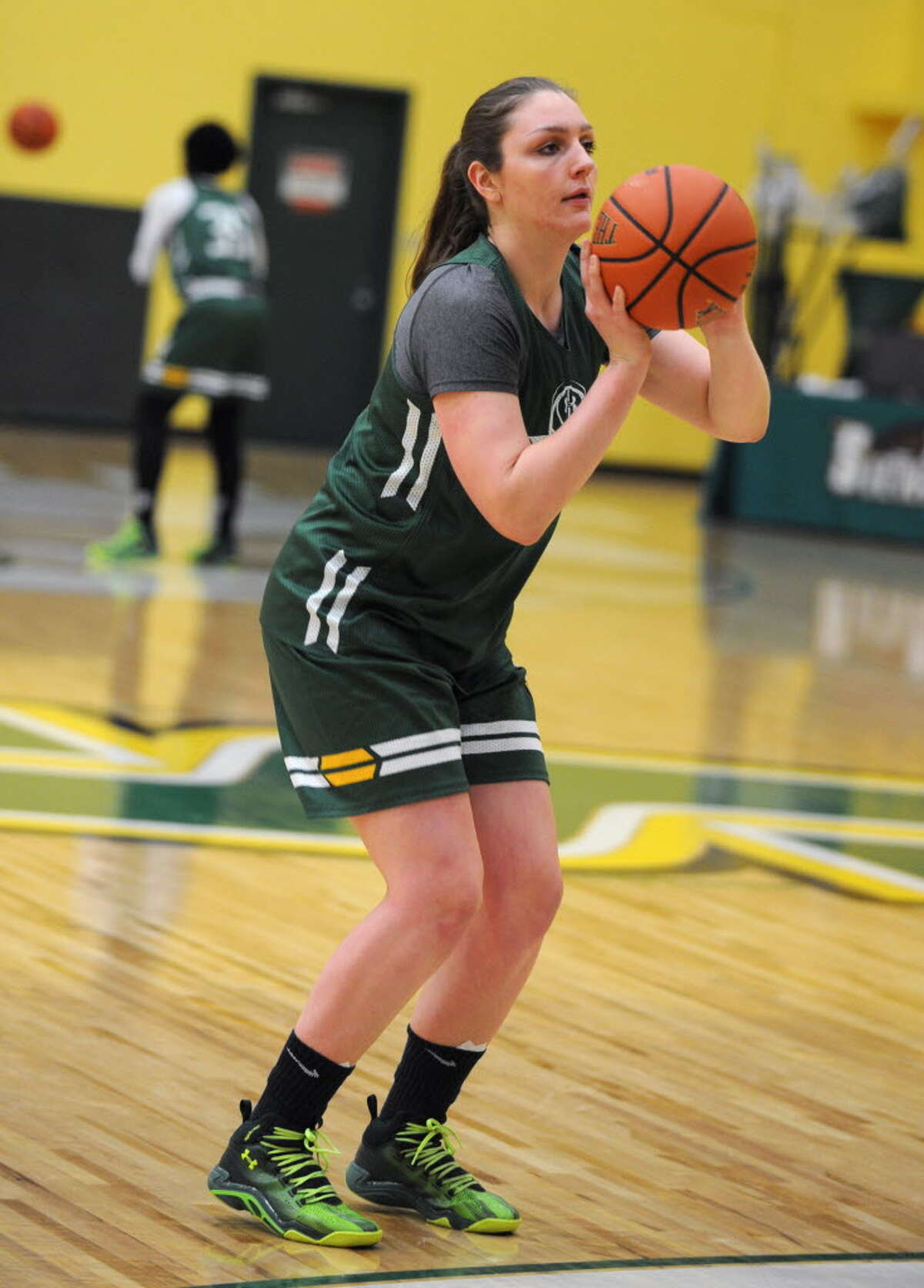 Siena senior forward Margot Hetzke shown in practice in November 2015, a month before suffering a career-altering concussion against UAlbany. (Lori Van Buren/Times Union)