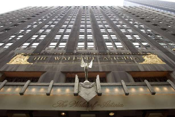 A 2004 file photo of the facade of the Waldorf-Astoria hotel in New York.