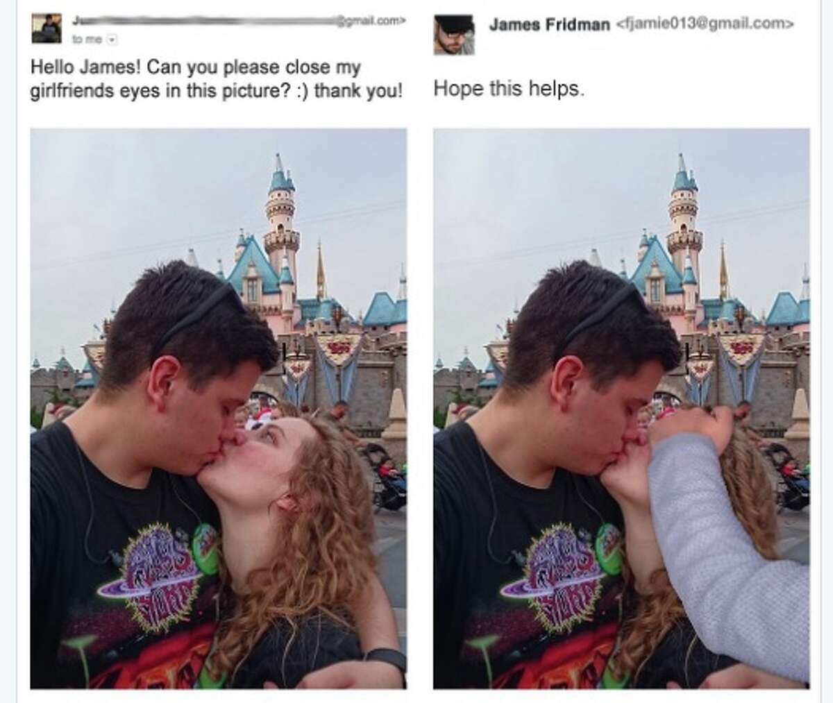 Request:Hello James! Can you please close my girlfriends eyes in this picture? :) thank you! James Fridman:Hope this helps. (For more of James Fridman's tongue-in-cheek before-and-after Photoshop work, click through this slide show.)