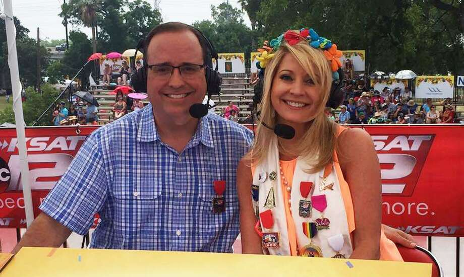 KSAT anchor Leslie Mouton is excited to host the Battle of Flowers Parade telecast again with Mark Austin -- particularly with the cooler start time of 9 a.m. Here, they're seen delivering last year's float info. Photo: Courtesy Of Leslie Mouton /
