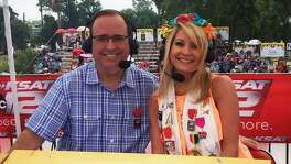 KSAT anchor Leslie Mouton is excited to host the Battle of Flowers Parade telecast again with Mark Austin -- particularly with the cooler start time of 9 a.m. Here, they're seen delivering last year's float info.