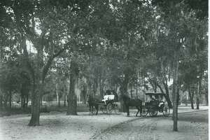 A vintage photo  shared by the San Antonio Parks and Recreation Department  shows how San Antonians used to travel through San Pedro Springs Park.
