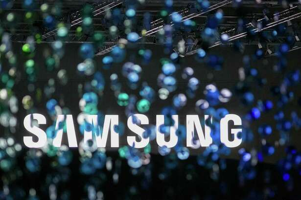 A Samsung logo displayed at a news conference during the IFA International Consumer Electronics Show in Berlin on 1, 2016.