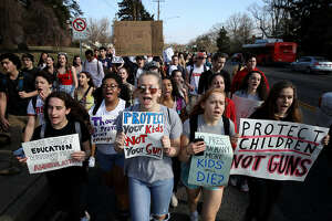 SILVER SPRING, MARYLAND - FEBRUARY 21: Students from Montgomery Blair High School march down Colesville Road in support of gun reform legislation February 21, 2018 in Silver Spring, Maryland. In the wake of last week's shooting in Parkland, Florida, where 17 people were killed, the students planned to take public transportation to the U.S. Capitol to hold a rally demanding legislation to curb gun violence in schools. (Photo by Win McNamee/Getty Images)