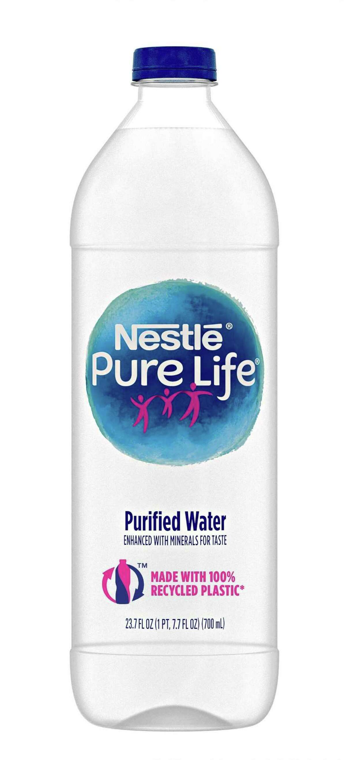 The 700-milliliter bottle of Nestle Waters North America's Pure Life Purified Water is made with 100 percent recycled plastic.