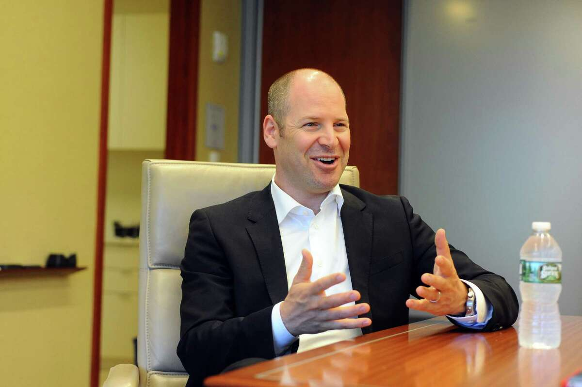 Nelson Switzer, Nestle Waters' chief sustainability officer, makes a point during an interview at Nestle Waters North America's headquarters at 900 Long Ridge Road, on July 5, 2017.