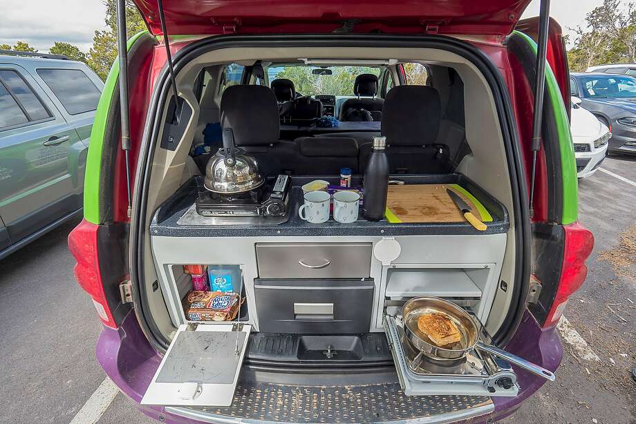 The rear of Jucy vans unfolds into a kitchenette. Photo: Courtesy Jucy RV Rentals