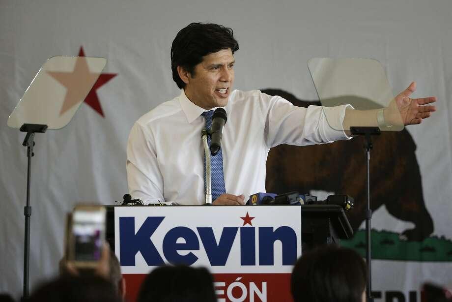 State Sen. Kevin de Leon addresses supporters in Los Angeles late last year — he's challenging U.S. Sen. Dianne Feinstein. Photo: Jae C. Hong, Associated Press