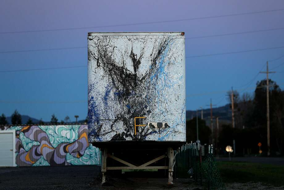 The painted 53-foot trailer at Oasis Village, a proposed and abandoned emergency housing center for North Bay fire victims in Santa Rosa. Photo: Carlos Avila Gonzalez, The Chronicle