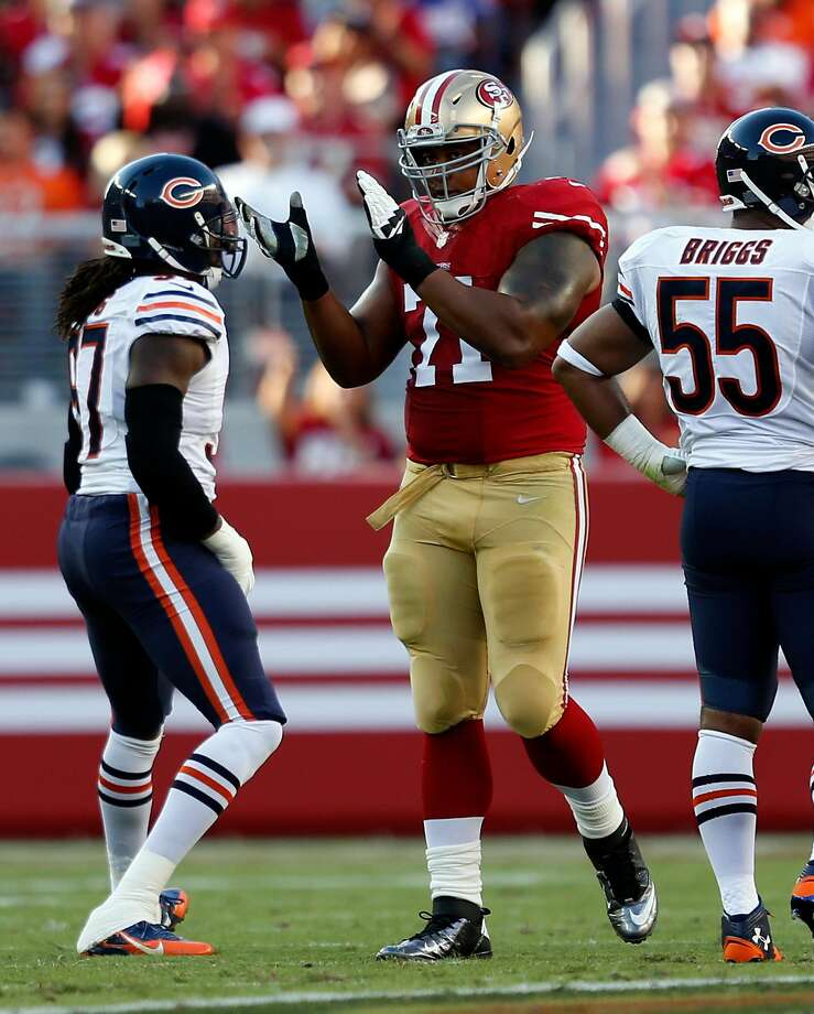 San Francisco 49ers' Jonathan Martin during 28-20 loss to Chicago Bears in NFL game at Levi's Stadium in Santa Clara, Calif. on Sunday, September 14, 2014. Photo: Scott Strazzante, The Chronicle