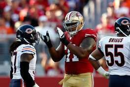 San Francisco 49ers' Jonathan Martin during 28-20 loss to Chicago Bears in NFL game at Levi's Stadium in Santa Clara, Calif. on Sunday, September 14, 2014.