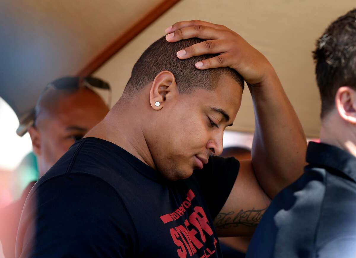 New San Francisco 49er and Stanford student Jonathan Martin watched the drills Thursday March 20, 2014 in Palo Alto, Calif. Stanford University hosted its annual NFL Pro Day where professional scouts get a chance to get a serious look at soon to be pro players.