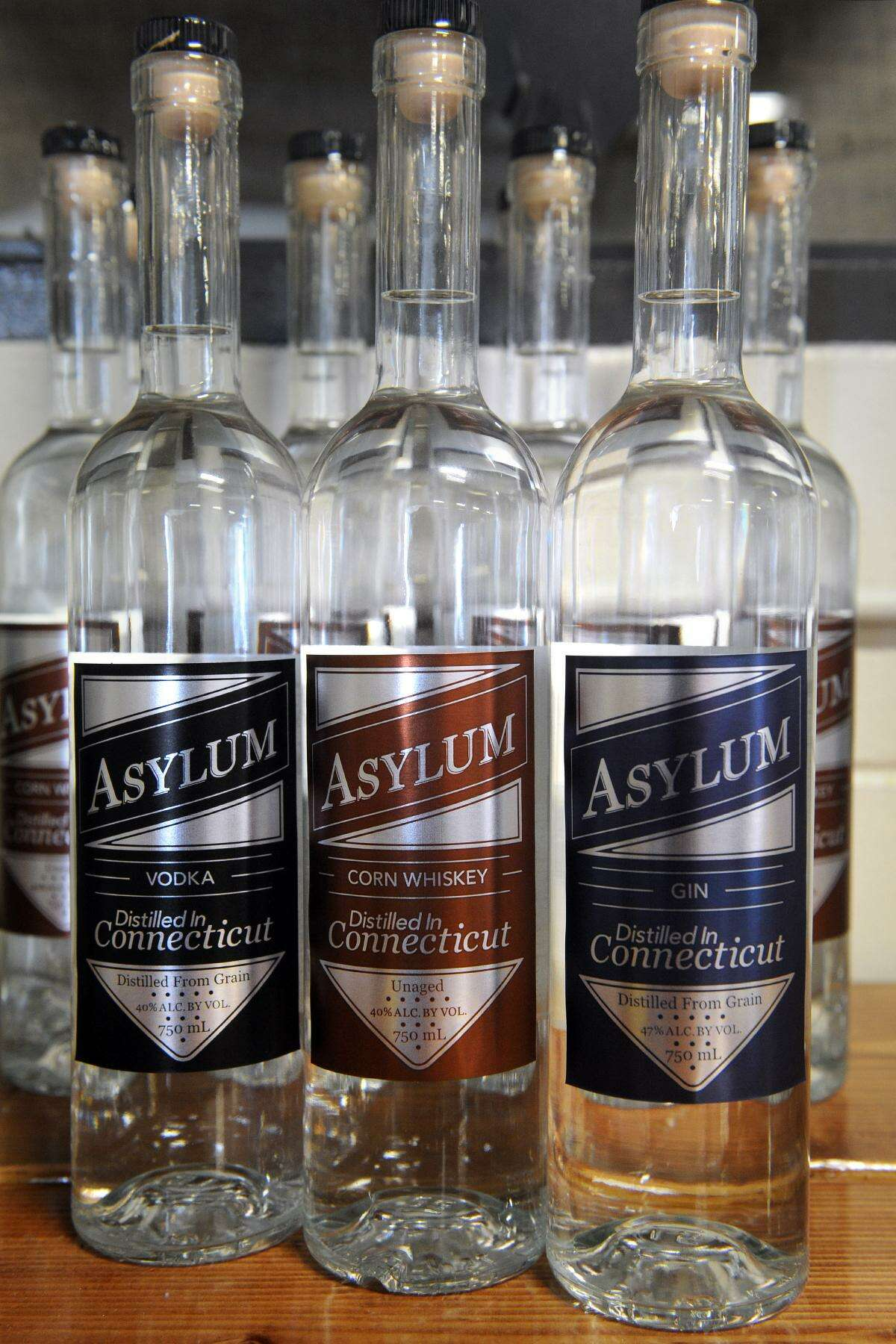 The finished product: vodka, corn whiskey and gin at Asylum Distillery in Bridgeport, Conn. June 2, 2016.