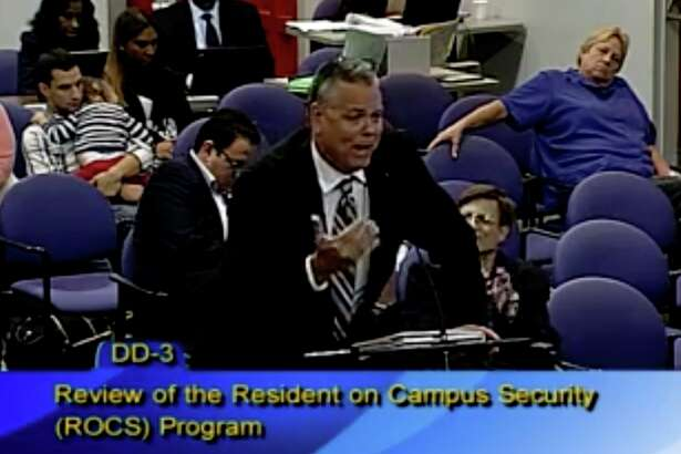 Former Broward County Sheriff's deputy Scot Peterson, who was identified by Sheriff Scott Israel as the school resource officer at Marjory Stoneman Douglas High School who did not enter the school building while a mass murder was occurring, speaks to the Broward County School Board in 2015.