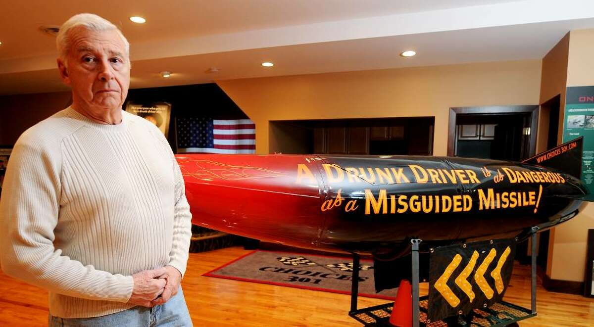 THIS MISSILE carries a stern message against drunken driving, a key part of the Choices 301 program created by Ed Frank, a retired Colonie deputy police chief and his late son, Ed Frank Jr., also a town officer. The display is housed in Altamont. (LUANNE M. FERRIS/TIMES UNION)
