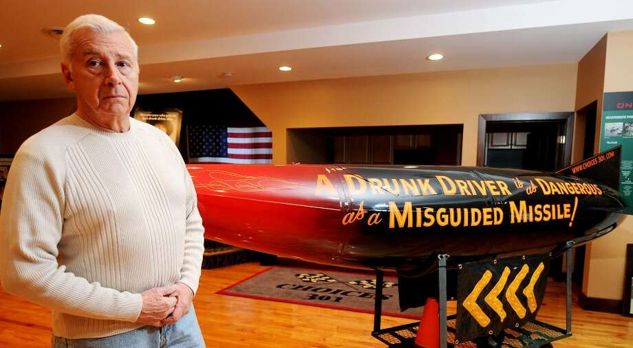 THIS MISSILE carries a stern message against drunken driving, a key part of the Choices 301 program created by Ed Frank, a retired Colonie deputy police chief and his late son, Ed Frank Jr., also a town officer. The display is housed in Altamont. (LUANNE M. FERRIS/TIMES UNION) Photo: LUANNE M. FERRIS