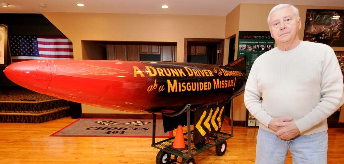 Ed Frank, formerly of the Colonie Police Department, made this missile to combat DWI accidents. It is on display at his Beacon of Hope Care Center Choices 301 Exhibit in Altamont. (Luanne M. Ferris / Times Union)