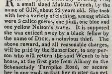 """An ad included in """"In Defiance: Runaways from Slavery in New York's Hudson River Valley, 1735-1831,"""" a 2016 compilation by Susan Stessin-Cohn and Ashley Hurlburt-Biagini."""