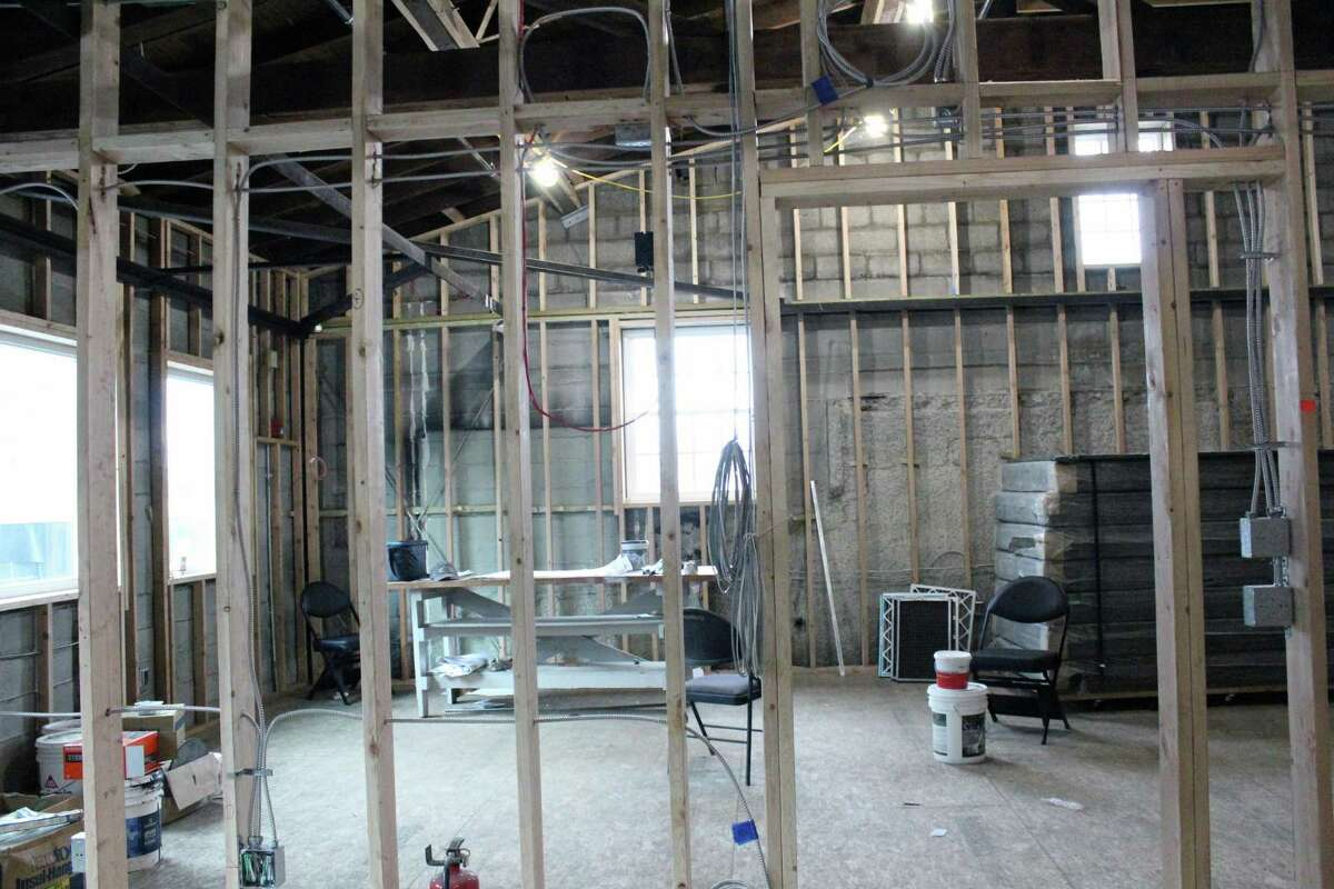 """Construction is underway on """"The Loft"""" at the Fairfield Theatre Co., turning the second floor into office, rehearsal, and classroom space. Fairfield,CT. 2/22/18"""