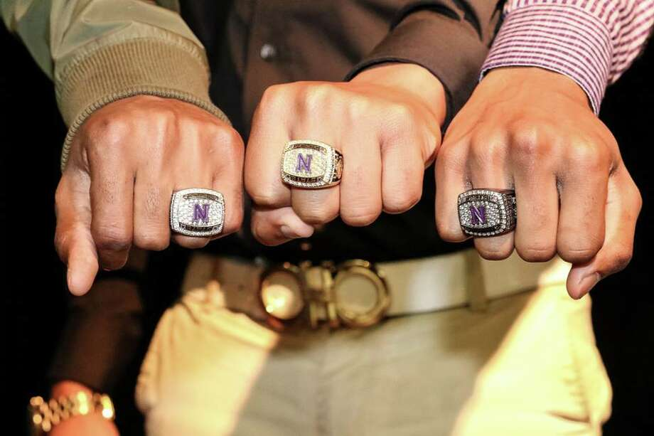 The Newton football team was given its state title rings on Friday.The Newton football team was given its state title rings on Friday. Photo: Heather Foster