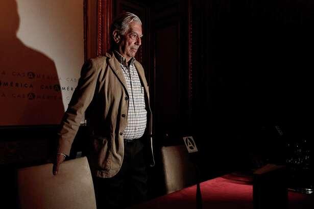 Writer Mario Vargas Llosa attends the 'Conversacion en Princeton' press conference at Casa de America in Madrid, Spain.