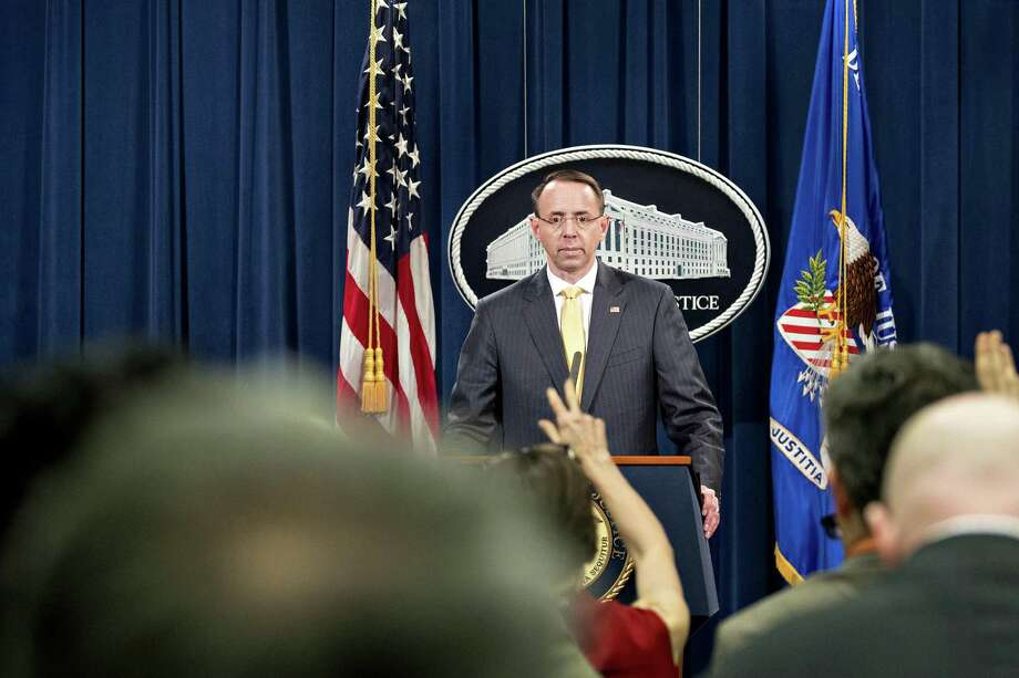 Rod Rosenstein, deputy attorney general, waits for a question during a news conference at the Department of Justice in Washington, D.C., U.S., on Friday, briefed the media about Special Counsel Robert Mueller announcing an indictment of 13 Russian nationals and three Russian entities, accusing them of interfering in the 2016 presidential election and operating fake social media accounts. Serious, but let's not blow it out of proportion. Photo: Andrew Harrer /Bloomberg / © 2018 Bloomberg Finance LP