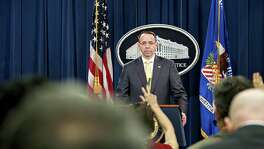 Rod Rosenstein, deputy attorney general, waits for a question during a news conference at the Department of Justice in Washington, D.C., U.S., on Friday, briefed the media about Special Counsel Robert Mueller announcing an indictment of 13 Russian nationals and three Russian entities, accusing them of interfering in the 2016 presidential election and operating fake social media accounts. Serious, but let's not blow it out of proportion.