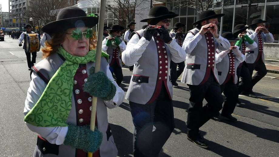 More than 80 marching units will fill downtown streets during the annual St. Patrick's Day parade in Stamford on Saturday, March 3. Above is a scene from last year's event. Photo: Matthew Brown / Hearst Connecticut Media / Stamford Advocate